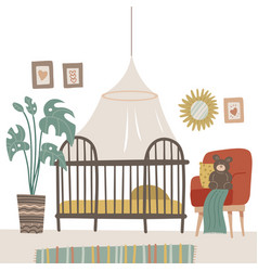 child room in pastel colors for newborn baby vector image