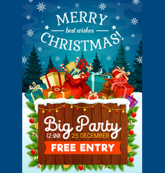 christmas and new year holiday party poster vector image
