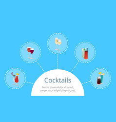 cocktails poster with alcohol beverages in circles vector image