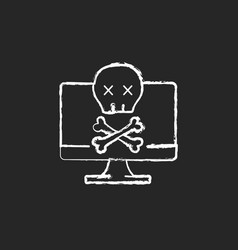 Computer not starting chalk white icon on black vector