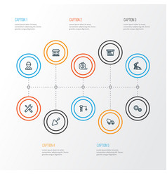 Construction outline icons set collection of vector