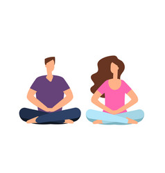 couple in meditation young man woman relaxing vector image