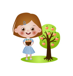 Cute smiling kid girl take apples from tree vector