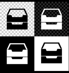 drawer with documents icon isolated on black vector image