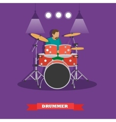Drummer musician playing drums vector image