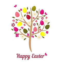 easter tree with eggs and flowers vector image