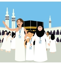 family haj hajj pilgrim man father mother woman vector image