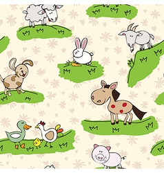 farm animals on grass vector image