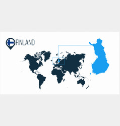 Finland location on world map vector