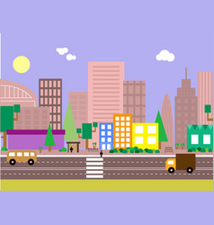 Flat design evening urban landscape vector