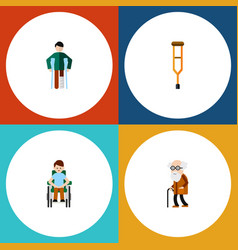 Flat icon cripple set of injured stand disabled vector
