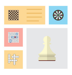 Flat icon games set of pawn guess chess table vector