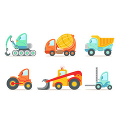 Flat set of colorful construction and cargo vector