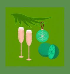 flat shading style icon glasses champagne oranges vector image