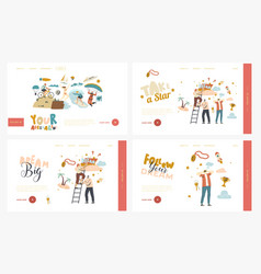 follow dream landing page template set characters vector image