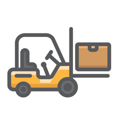 forklift delivery truck filled outline icon vector image