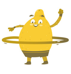 Funny smiling lemon character with hula hoop vector