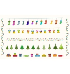 garland set of pixel art for christmas and new vector image