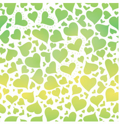 Green gradient hearts seamless pattern vector