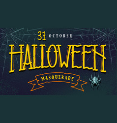 halloween retro banner with lettering vector image