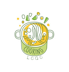 hand drawn cooking logo original design with soup vector image