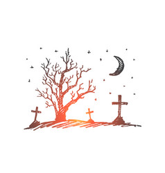 Hand drawn halloween cemetery dry wood and moon vector