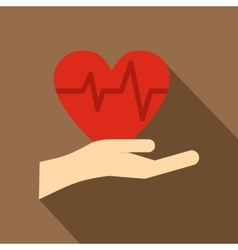 Hand holding red heart icon flat style vector