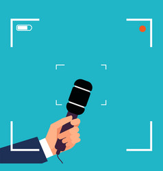 hand with microphone focus tv interview live vector image