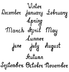Hand-written names seasons and months vector