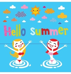 Hello summer 2 vector image