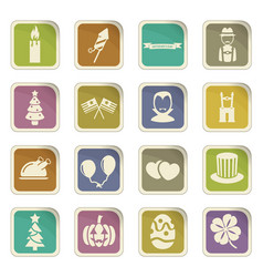 Holidays icon set vector