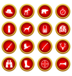 Hunting icon red circle set vector