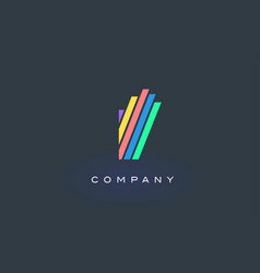 i letter logo with colorful lines design rainbow vector image