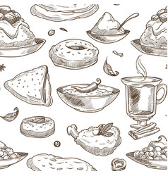 Indian cuisine sketch pattern background vector