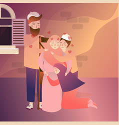 indonesian muslim family forgiveness mother father vector image