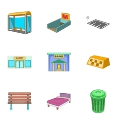 Infrastucture of the city icons set cartoon style vector