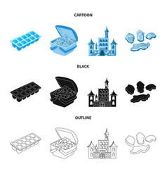 isolated object of texture and frozen icon vector image