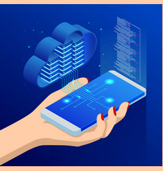 isometric cloud computing concept isometric cloud vector image
