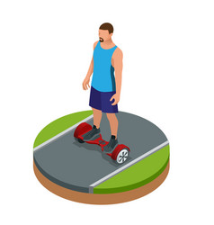 isometric man riding on hover board or gyroscooter vector image