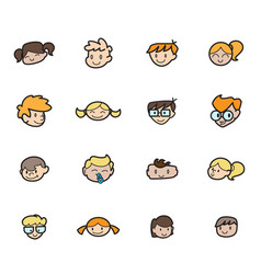 kids icon set happy children school elements vector image