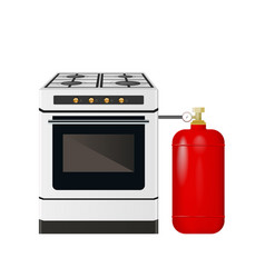 Kitchen stove with a red gas cylinder vector