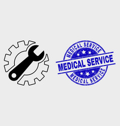 outline gear tools icon and scratched vector image