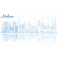 Outline Medina Skyline with Blue Buildings vector image