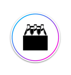 pack of beer bottles icon on white background vector image