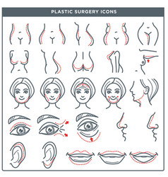 Plastic surgery line icons for woman body vector