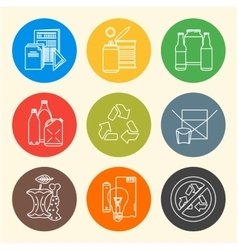 recycle waste segregation icons vector image