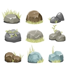 Rocks with grass stones and green grass on white vector