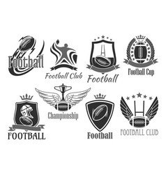 Rugby football badges for championship cup vector