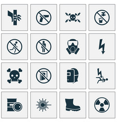 safety icons set with keep door closed barrel vector image
