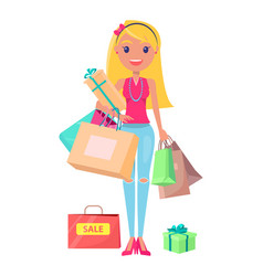 Sale shopoholic girl with bags vector